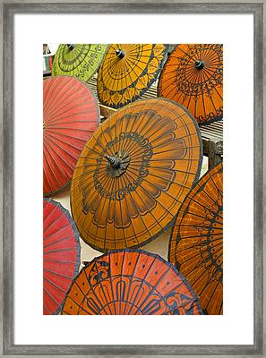 Asian Umbrellas Framed Print by Michele Burgess