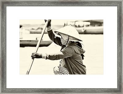 Asian Woman In A Boat Framed Print by Georgia Fowler