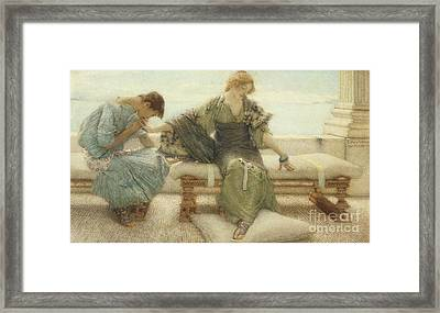 Ask Me No More....for At A Touch I Yield Framed Print by Sir Lawrence Alma-Tadema