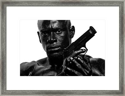 Assassin In Black And White Framed Print by Val Black Russian Tourchin