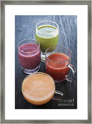 Assorted Smoothies Framed Print by Elena Elisseeva