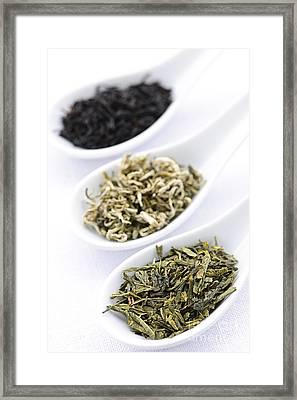 Assortment Of Dry Tea Leaves In Spoons Framed Print by Elena Elisseeva