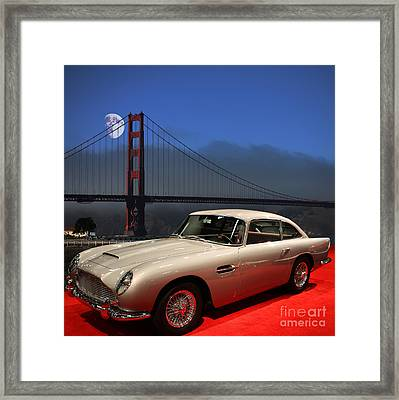 Aston Martin Db5 Under The Golden Gate Moon Framed Print by Wingsdomain Art and Photography