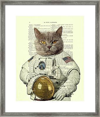 Astronaut Cat Illustration Framed Print by Madame Memento