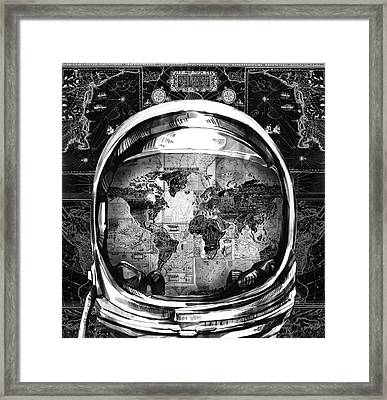 Astronaut World Map 1 Framed Print by Bekim Art