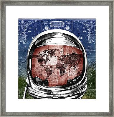 Astronaut World Map 3 Framed Print by Bekim Art