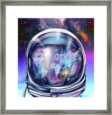 Astronaut World Map 9 Framed Print by Bekim Art
