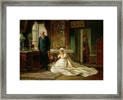 At The Altar Framed Print by Firs Sergeevich Zhuravlev