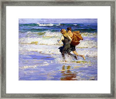 At The Beach Framed Print by Edward Henry Potthast