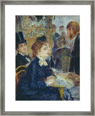 At The Cafe Framed Print by Pierre Auguste Renoir