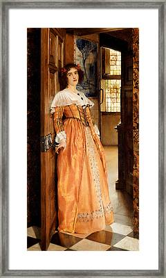 At The Doorway Framed Print by Laura Theresa Alma-Tadema