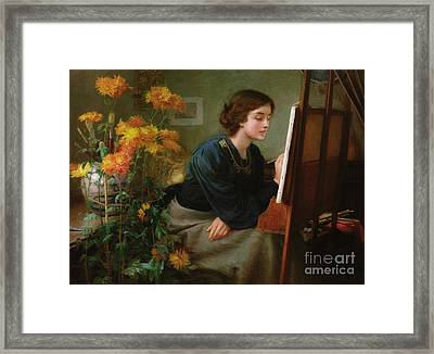 At The Easel  Framed Print by James N Lee