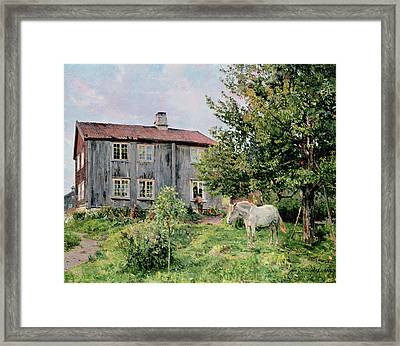 At The Farm Framed Print by Gerhard Peter Frantz Vilhelm Munthe