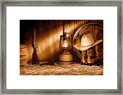 At The Old Ranch - Sepia Framed Print by Olivier Le Queinec