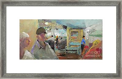 At The Restaurant Framed Print by Becky Kim