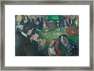 At The Roulette Table In Monte Carlo Framed Print by Edvard Munch