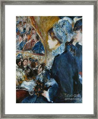 At The Theater Framed Print by Pierre Auguste Renoir