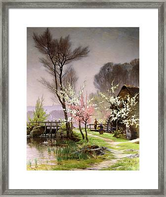 At The Watermill   Spring Framed Print by Henri Saintain