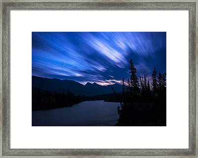 Athabasca River Moonrise Long Exposure Framed Print by Cale Best