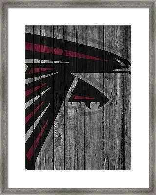 Atlanta Falcons Wood Fence Framed Print by Joe Hamilton