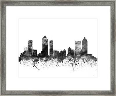 Atlanta Georgia Cityscape 02bw Framed Print by Aged Pixel