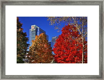 Atlantic Station Banking Fall Leaves Framed Print by Reid Callaway