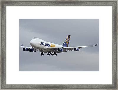 Atlas Air Boeing 747-47uf N415mc Phoenix Sky Harbor December 23 2015  Framed Print by Brian Lockett