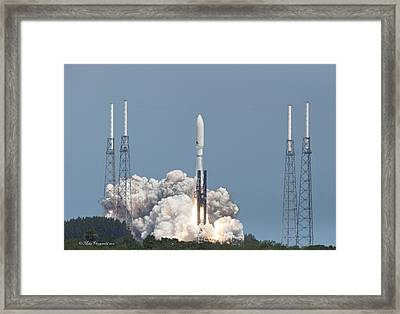 Atlas V Launch Framed Print by Mike Fitzgerald