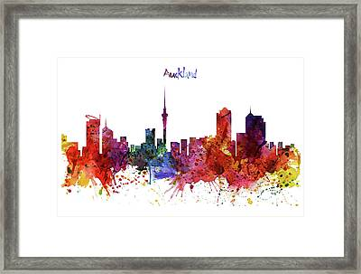 Auckland Watercolor Skyline Framed Print by Marian Voicu