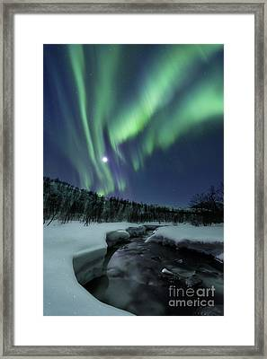 Aurora Borealis Over Blafjellelva River Framed Print by Arild Heitmann