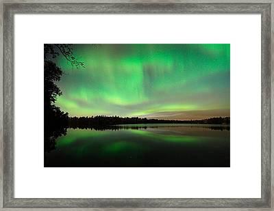 Aurora Over Tofte Lake Framed Print by Larry Ricker