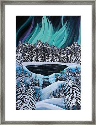 Aurora's Fiery Display Framed Print by Barbara Griffin
