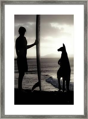 Aussie Surf Silhouettes Framed Print by Sean Davey
