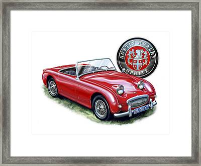 Austin Healey Bugeye Sprite Red Framed Print by David Kyte