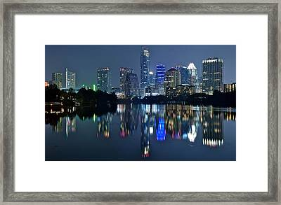 Austin Night Reflection Framed Print by Frozen in Time Fine Art Photography