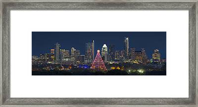 Austin Panorama Of The Trail Of Lights And Skyline Framed Print by Rob Greebon
