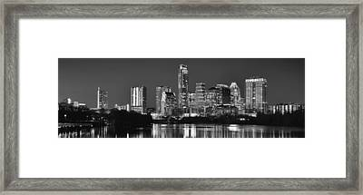 Austin Skyline At Night Black And White Bw Panorama Texas Framed Print by Jon Holiday