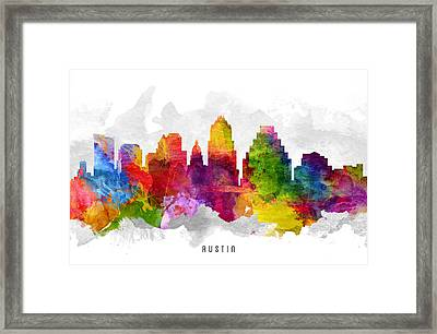 Austin Texas Cityscape 13 Framed Print by Aged Pixel