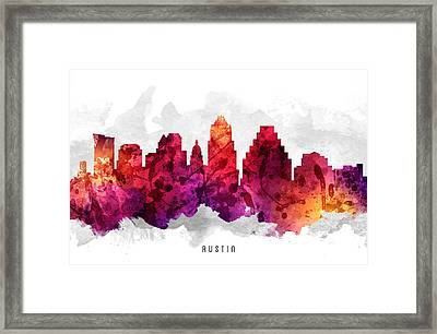 Austin Texas Cityscape 14 Framed Print by Aged Pixel