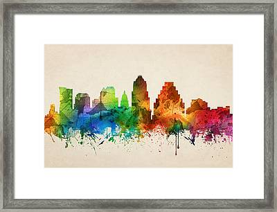 Austin Texas Skyline 05 Framed Print by Aged Pixel