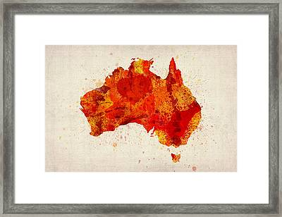 Australia Watercolor Map Art Print Framed Print by Michael Tompsett