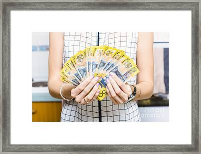 Australian Woman Holding 500 In 50 Dollar Notes Framed Print by Jorgo Photography - Wall Art Gallery