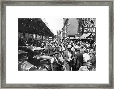 Auto Accident Scene Framed Print by Underwood Archives