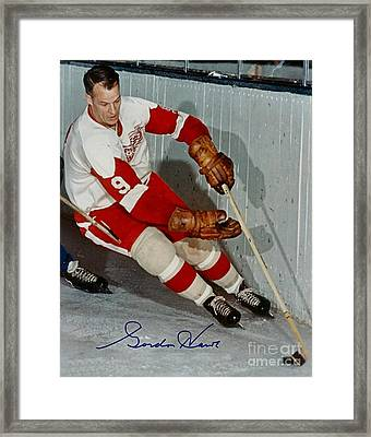Autographed Photograph Of Gordie Howe Framed Print by Pd