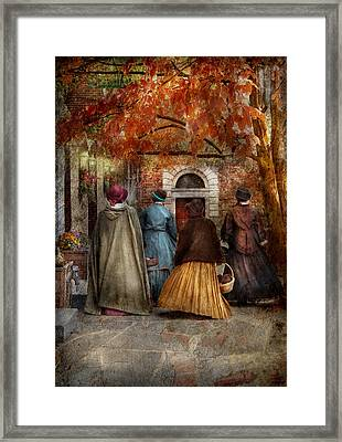 Autumn - People - A Walk Downtown  Framed Print by Mike Savad