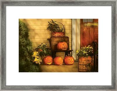 Autumn - Pumpkin - The Jolly Bunch Framed Print by Mike Savad
