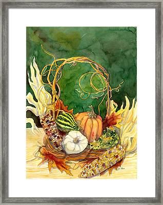 Autumn Abundance - Fall Harvest Basket Indian Corn Pumpkin Gourds Framed Print by Audrey Jeanne Roberts