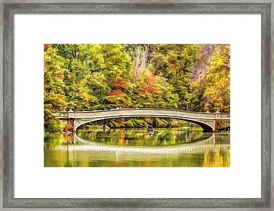 Autumn At Central Park Bow Bridge Framed Print by Geraldine Scull