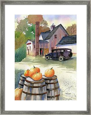 Autumn At Clyde's Cider Mill Framed Print by Marsha Elliott