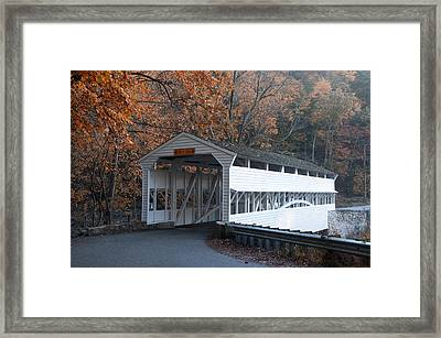 Autumn At Knox Covered Bridge In Valley Forge Framed Print by Bill Cannon